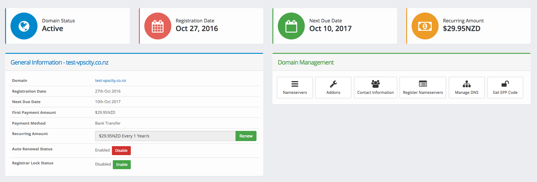 Domain Management Features